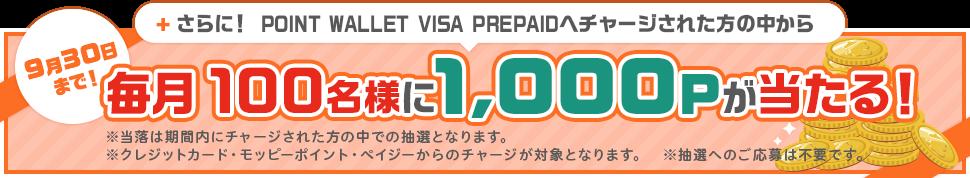 毎月100名様に1,000Pが当たる!