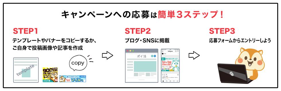 キャンペーンへの応募は簡単3ステップ!