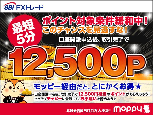 モッピー経由で口座開設・取引完了で12,500P!SBI FXトレード