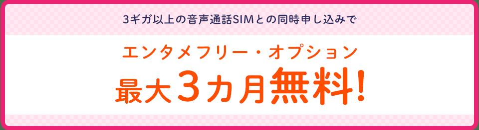 3ギガ以上の音声通話SIMとの同時申し込みでエンタメフリー・オプション最大3ヶ月間無料!