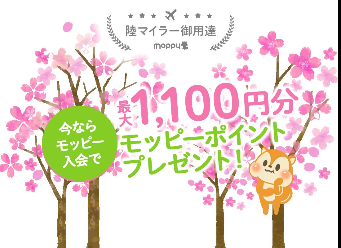 陸マイラー御用達。今ならモッピー入会で最大1,100円分のモッピーポイントプレゼント!