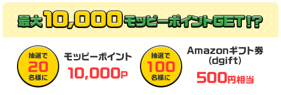 最大10,000モッピーポイントGET!?抽選で20名様にモッピーポイント10,000P 抽選で100名様にAmazonギフト券(dgift)500円相当